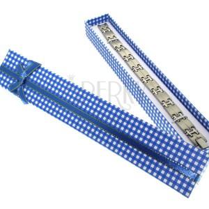 Ajándékdoboz karkötőnek - kék és fehér kockák, aranykék szalag