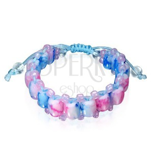 Shamballa energia karkötő - pink és kék márvány gyöngyök