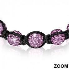 Karkötő Shamballa stílusban - ragyogó lila és hematit gyöngyök