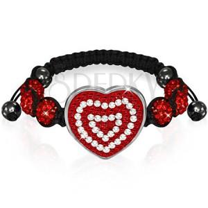 Shamballa karkötő - ragyogó piros szívecske és gyöngyök
