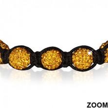 Shamballa karkötő - ragyogó arany gyöngyök, hematit golyócskák