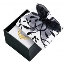 Fekete - fehér ajándékdoboz, levelekkel és masnival