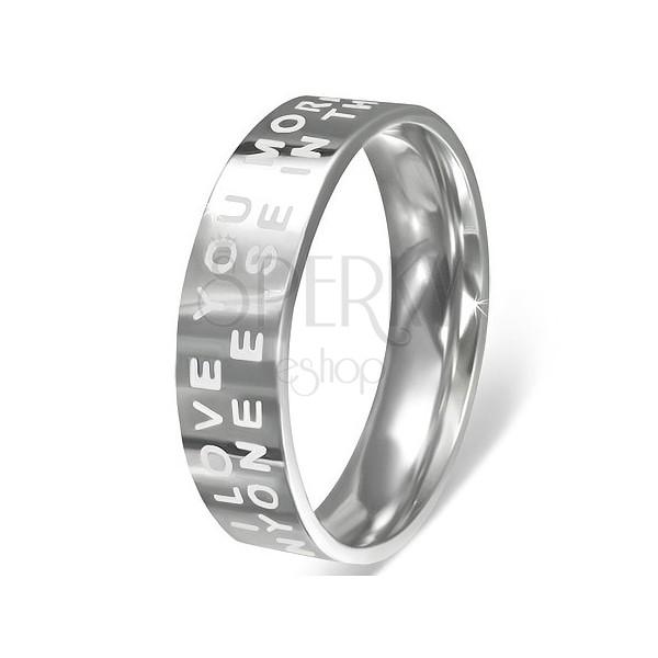 Orvosi fém gyűrű - fényes felület szerelmes felirattal