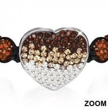 Shamballa karkötő szívvel - csokoládébarna cirkónia golyócskák