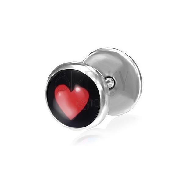 Hamis fülpiercing acélból - piros szív fekete alapon