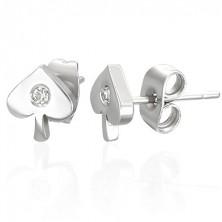 Bedugós fülbevaló rozsdamentes acélból - pikk és cirkónia
