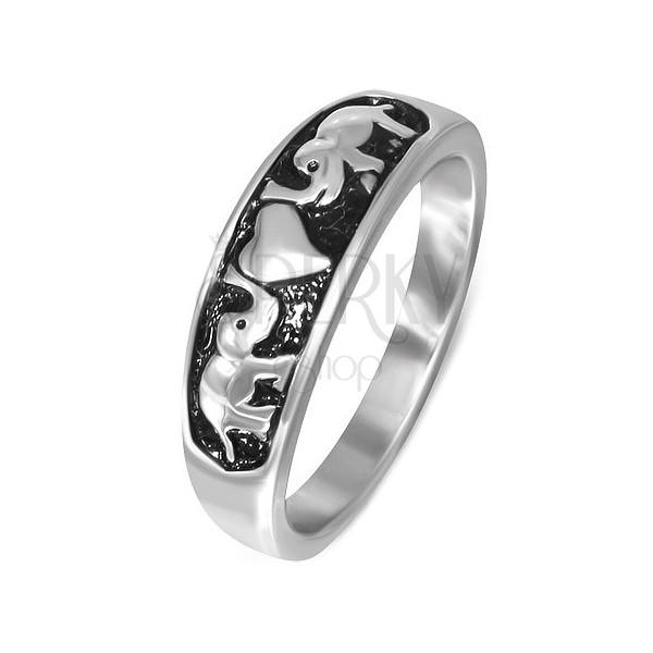 Orvosi fém gyűrű - két elefánt és egy szív