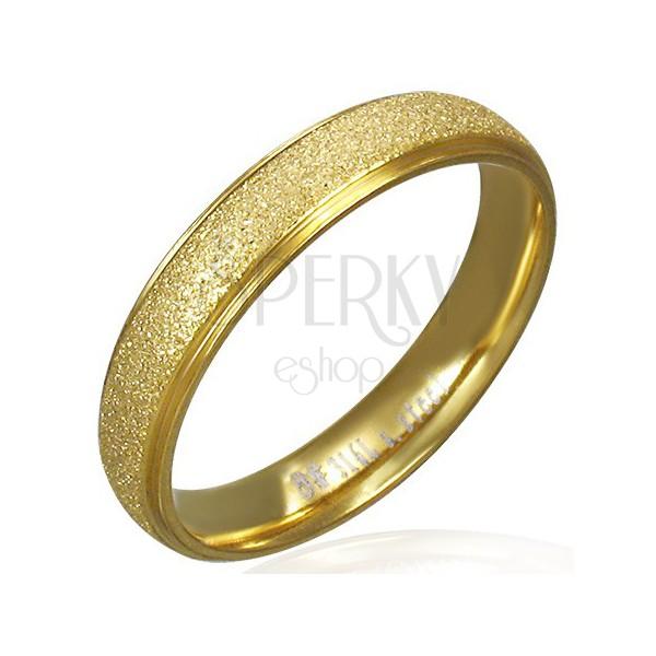 Szemcsés felületű karikagyűrű acélból, arany színben