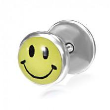 Hamis fültágító acélból - sárga smiley