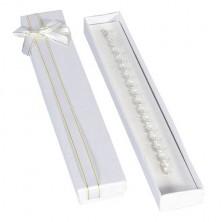 Hosszúkás ajándékdoboz - fehér, fehérarany szalag