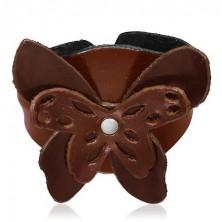 Barna bőr karkötő lepke alakú rátéttel
