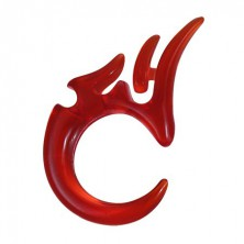 Törzsi expander a fülbe UV akrilból - piros, 4 mm