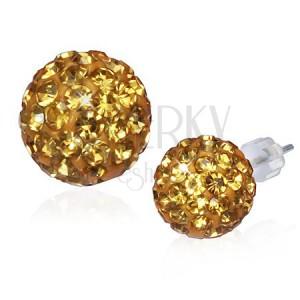Disco gömb fülbevaló - arany cirkónia golyó