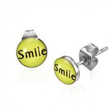 Smile feliratú kis sárga bedugós fülbevaló