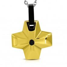 Acél medál - széles kereszt arany színben fekete középpel