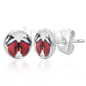Beszúrós fülbevaló - piros pillangó kép