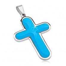 Sebészeti acél medál, nagy kereszt kék fénymázzal belső résszel