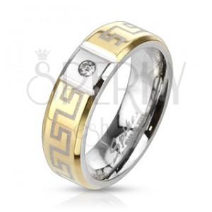 Aranyozott, görög mintás acél gyűrű cirkóniával