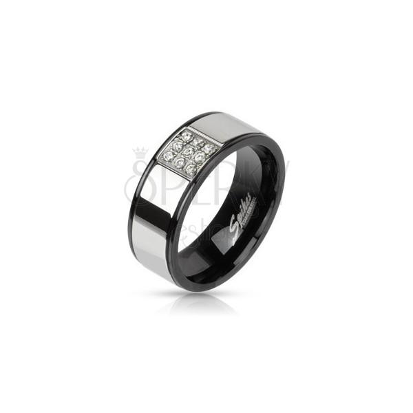 Ezüst színű acél gyűrű fekete szegélllyel- cirkonkő négyzet