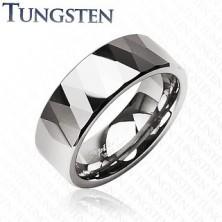 Volfrám gyűrű - fényes rombuszok és háromszögek, ezüst szín
