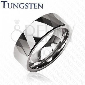 Tungsten gyűrű - fényes rombuszok és háromszögek