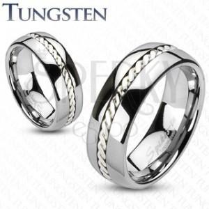 Ezüst fonattal díszített wolfrámgyűrű