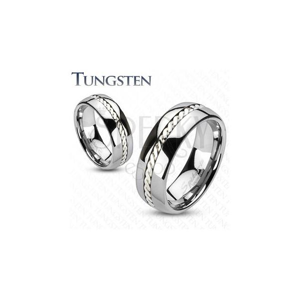 Ezüst fonattal díszített wolfrámgyűrű, 6 mm
