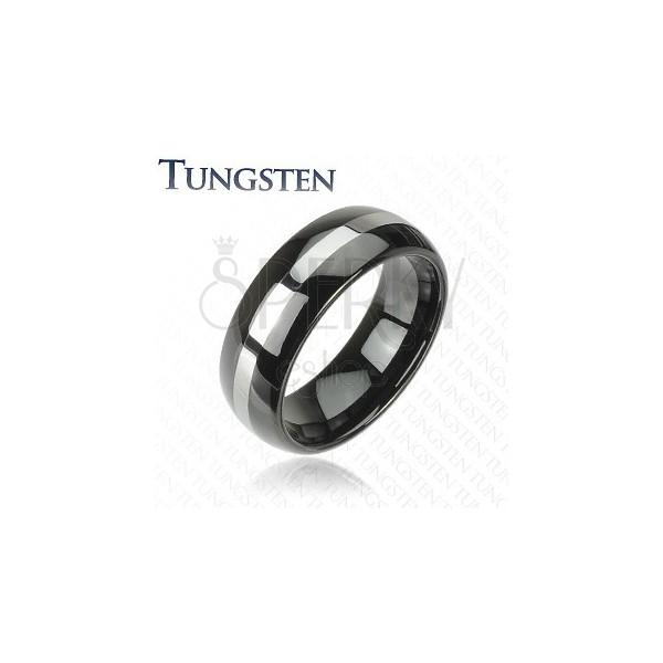 Fekete wolfrám karikagyűrű ezüst sávval, 6 mm