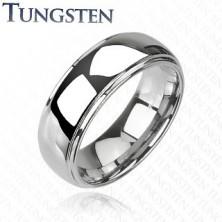 Wolfrám karikagyűrű - kiemelkedő középső sáv, tükörfényes, 6 mm