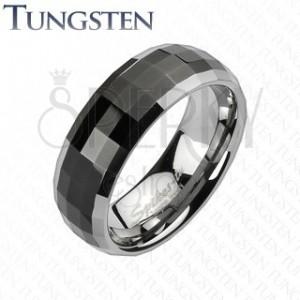 Gyűrű wolfrámból disco stílusban - fekete sáv, ezüst szegélyek