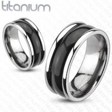 Titánium gyűrű - magasított szegélyek, ívelt fekete sáv