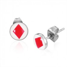 Bedugós acél fülbevaló - piros kártya szimbólum