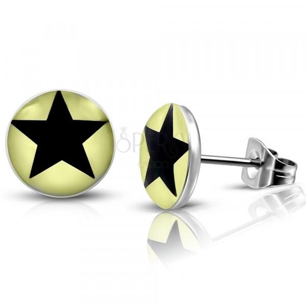 Acél fülbevaló - fekete ötágú csillag