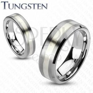 Wolfrám gyűrű - matt szürke, egy ezüst színű sávval