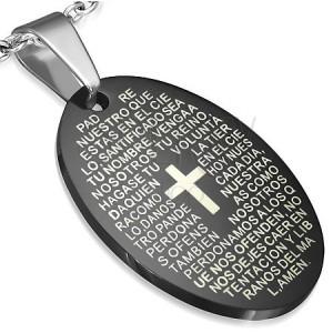 Ovális acél medál imaszöveggel és kereszttel