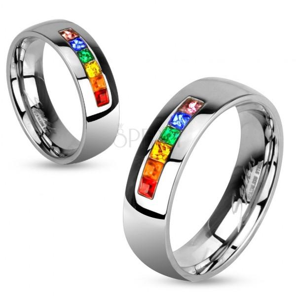Színes cirkonkövekkel díszített acél karikagyűrű