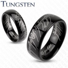 Karikagyűrű wolfrámból fekete színben - Gyűrűk ura motívum