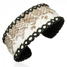 Szabadon formálható, kígyómintás karkötő bőrből