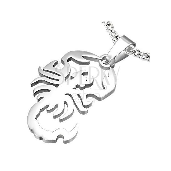 Skorpió alakú medál sebészeti acélból