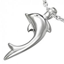 Medál 316L acélból ezüst színben, fényes delfin