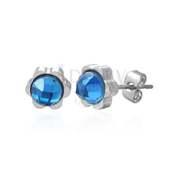 Acél virág fülbevaló, egy méretes kék cirkónia kővel