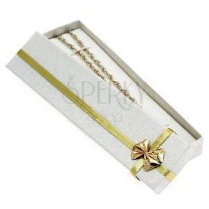 Hosszúkás ajándékdoboz - arany szalag és masni