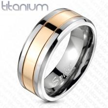 Titánium karikagyűrű rózsaszín-arany sávval, 8 mm