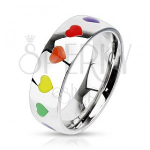 Fényes acélgyűrű színes szívecskékkel