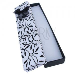 Hosszú doboz ékszereknek - fekete indák levelekkel és masni