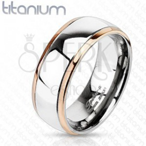 Titánium karikagyűrű - arany szegélyek, széles ezüst sáv