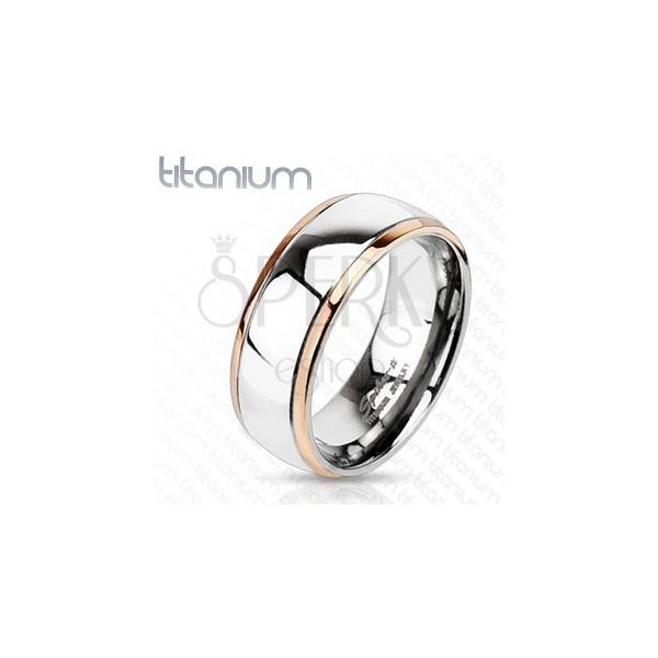 Titánium karikagyűrű - réz színű szegélyek, széles ezüst sáv