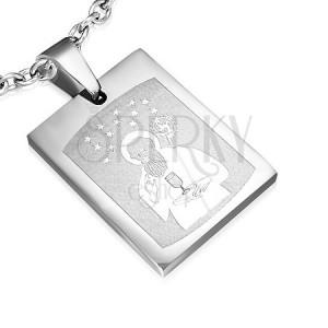 Mágneses medál acélból - Szent kép, ezüst színben