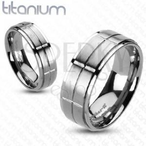 Titánium karikagyűrű matt téglalapokkal