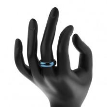 Wolfrám karikagyűrű domború felülettel, sötétkék, 6 mm